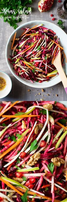 vegan root vegetable christmas salad (w/o beat maybe substitute squash or cabbage)