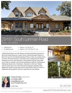 29181 South Lehman Rd. It's a perfect venue for events. Tree lined driveway, a vast Grassy Lawn w/Stage Area for Outdoor Entertainment. Picnic Area Overlooks a Tranquil Water Fountain. Bocce Ball court. Views of vineyards.