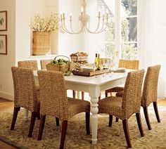 Marvelous Dining Room Featuring The Seagrass Dining Chair From Pottery Barn Love  These Chairs