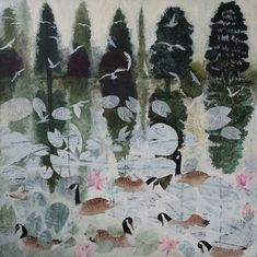 Lily, Ducks, Pond, Trees, Nature, Image, Paintings, Art, Products