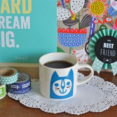 Mini mug Chat bleu Jane Foster - deco-graphic.com