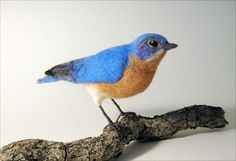 This life-sized Eastern Bluebird is about 7 from beak to tail and is felted of 100% wool. Bluebirds, with their bright blue breeding plumage and