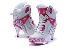 Girls Air Jordan Spiz'ike High Heel White Pink Shoes