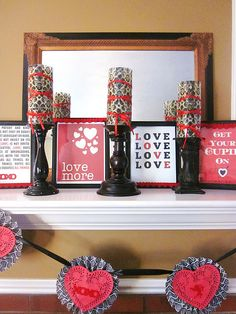 love the red and black vday mantel..