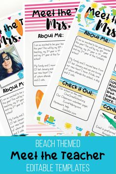 meet the teacher ideas Meet the teacher night editable classroom templates in a fun and bright Beach theme. Included are, editable newsletter templates, editable wishlist display, Diy Classroom Decorations, Classroom Themes, New Teachers, Your Teacher, Meet The Teacher Template, Powerpoint Presentation Slides, Back To School Night, Classroom Supplies, Newsletter Templates