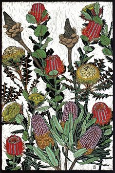 BANKSIAS & DRYANDRA 75 X 50 CM    EDITION OF 50 HAND COLOURED LINOCUT ON HANDMADE JAPANESE PAPER $1,400