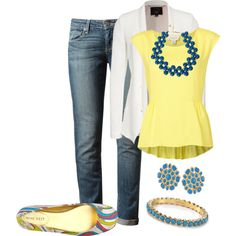 """Blue Denim with Yellow"" by simplymeg on Polyvore"