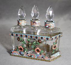 Antique French Enamel Cloisonné Cut Faceted Glass Perfume Bottles