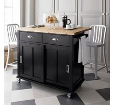 Attractive rolling kitchen island with the pulls I think will work best