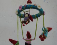 Nursery crib babies rainbow fairies mobile with by Made4uByMagic