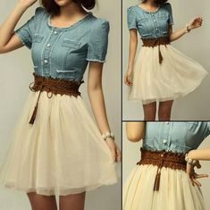 Light Blue Lace Embroidery Round Neck Denim Dress - Midi Dresses - Dresses
