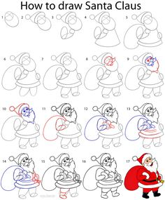 How to Draw Santa Clause Step by Step Drawing Tutorial with Pictures Easy Drawings For Beginners, Easy Drawings For Kids, Drawing For Kids, Art For Kids, Easy Drawing Steps, Step By Step Drawing, Grinch Stealing Lights, Snoopy Drawing, Drawing Santa