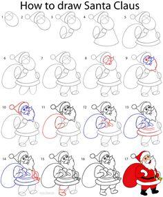 santa drawing step by step - Google Search