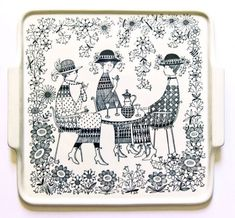 Emilia by Raija Uosikkinen for Arabia Finland - photograph Ray Garrod Ceramic Plates, Ceramic Pottery, Square Tray, Large Plates, Pottery Designs, China Painting, Elegant Homes, Finland, Vintage Designs