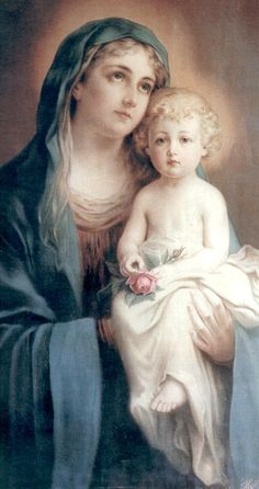 Blessed Virgin & Baby Jesus via Grace Edwards Blessed Mother Mary, Divine Mother, Blessed Virgin Mary, Religious Pictures, Religious Icons, Religious Art, Hail Holy Queen, Images Of Mary, Queen Of Heaven