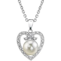 Akoya Pearl Heart-Shaped Diamond Pendant- Choose Your Pearl Color ($699) ❤ liked on Polyvore featuring jewelry, pendants, white, heart shaped pendant, diamond heart pendant, white pearl pendants, charm pendant and heart jewelry