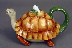 349: 19TH CENTURY MINTON POTTERY TURTLE TEAPOT : Lot 349