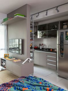 Small Studio Apartments, Cool Apartments, Apartment Kitchen, Apartment Design, Room Partition Designs, Kitchen Room Design, Model Homes, Home Decor Bedroom, Home Interior Design