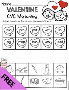 FREEBIE - CVC heart words - Valentine's Day Reading - Valentines Day Activities for kindergarten and Pre-K Kindergarten Freebies, Kindergarten Centers, Kindergarten Activities, Literacy Centers, Kindergarten Classroom, Valentines Writing Kindergarten, Phonics Activities, Preschool Learning, Pixar Inside Out