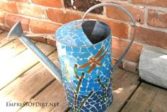 Gallery of watering can garden art ideas -mosaic watering can