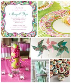 Tiny Prints Paisley Print Baby Shower Inspiration Board: We were inspired by the vibrant paisley pattern on this invitation designed by Vera Bradley for Tiny Prints. Incorporate the playful pattern throughout your event in a color palette of bright mint, fuchsia pink, and apple green.