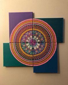 Canvas Collage, Diy Canvas Art, Acrylic Canvas, Modern Canvas Art, Canvas Ideas, Collage Art, Mandala Canvas, Mandala Dots, Mandala Pattern