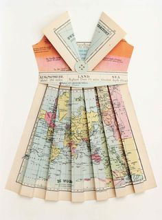 KATE'SPLACE:  THE CARTOGRAPHERS GUIDE TO PAPER DRESS MAKING DIY FRAMED ART