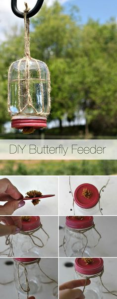 Attract butterflies to your spring garden with this DIY butterfly feeder! Attract butterflies to your spring garden with this DIY butterfly feeder! Garden Crafts, Garden Projects, Garden Art, Garden Design, Garden Kids, Bird Crafts, Garden Oasis, Landscape Design, Diy Projects