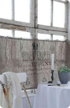burlap curtains ♥ Giving me a new idea for my own window treatments♥ instead of the white sheer.the burlap curtains ♥ Giving me a new idea for my own window treatments♥ instead of the white sheer. Decor, Shabby Chic, Curtains Living Room, Shabby, Burlap, Burlap Curtains, Drapes Curtains, Curtains, Shabby Cottage