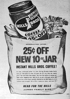 1960's Hills Bros. Coffee ad