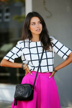 Black  White with Hot Pink || Modest Style || Modest Fashion || Modest Outfit Inspiration ||