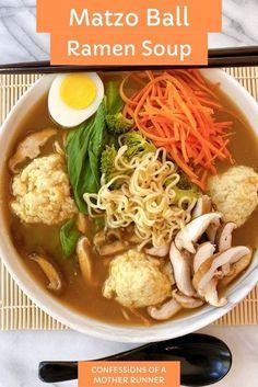When 2 delish foods blend together, a scrumptous bowl of goodness is created. Try this easy, Matzo Ball Ramen Soup-vegan #meatless #Healthy #MatzoBallSoup #Ramen #FamilyFriendly #SoupSeason