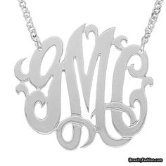 Mono17A Personalized Sterling Silver with White Rhodium Plated 1-1-4 Inch Monogram Necklace with Chain #Monogram Necklace #fashion #style #shopping - Fashion Jewelry - http://ijewelryfashion.com/mono17a-personalized-sterling-silver-with-white-rhodium-plated-1-1-4-inch-monogram-necklace-with-chain