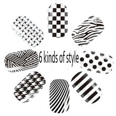 High Quality 3D Design Tip DIY Nail Art Nail Sticker  Nail paste Classic black and white  nail tools Free Shipping-in Stickers & Decals from Beauty & Health on Aliexpress.com | Alibaba Group