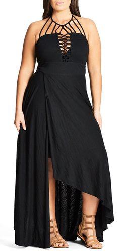Plus Size Faux Wrap Halter Maxi Dress