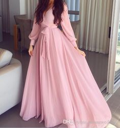 Long Sleeves V neckline Long Pink Chiffon Evening Dresses Prom Gown 1922 – Hijab Fashion 2020 Muslim Fashion, Hijab Fashion, Fashion Dresses, Fashion News, Women's Fashion, Chiffon Evening Dresses, Prom Dresses, Formal Dresses, Pageant Gowns