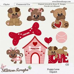 Puppy Love CU ClipArt by KittenScraps, original Artwork by Kristi W Designs, Print & Cut Compatible