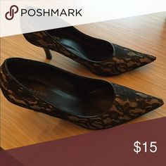 Black lace heels. Black lace heels. Worn once. Great condition. Maurices Shoes Heels