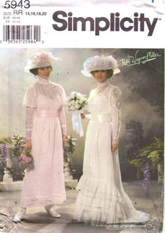 Simplicity 5943 Misses  Edwardian Wedding Gown Costume Sewing Pattern English and Spanish by mbchills