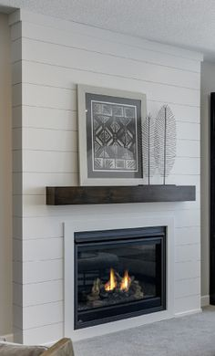 Excellent No Cost Fireplace Remodel off center Ideas living room designs ideas 2018 Basement Fireplace, Fireplace Redo, Shiplap Fireplace, Bedroom Fireplace, Farmhouse Fireplace, Fireplace Remodel, Living Room With Fireplace, Fireplace Design, Fireplace Ideas