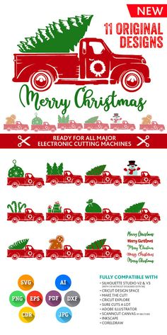 Christmas Truck SVG Christmas Tree Truck Svg Truck Svg Monogram Frames SVG DXF Silhouette Studio Png Eps Pdf Jpg Ai Cdr Silhouette, Cricut