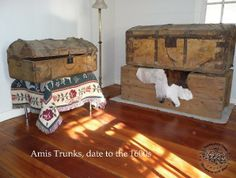 Original 16th Century Trunks of Thomas Amis, on display at Historic Thomas Amis House Circa 1782 Rogersville TN.