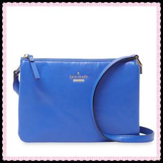 """Gorgeous Blue Goat Leather Kate Spade Bag 100% Blue Goat Leather with Gold Hardware- Length-10"""" x Height-7"""" Depth-1 1/2"""" Adjustable shoulder strap 19""""-23"""" Designer embossed logo at front Fabric interior lining with two dividers (3 Compartments) Zip top closure- INCLUDES DUST BAG! kate spade Bags Crossbody Bags"""