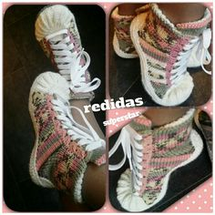 Crochet Converse, Crochet Shoes, Crotchet, Knit Crochet, Me Too Shoes, High Top Sneakers, Projects To Try, Weaving, Diy Crafts