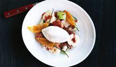 Fruktsalat med vaniljeis Eggs, Breakfast, Food, Morning Coffee, Egg, Meals, Egg As Food, Morning Breakfast