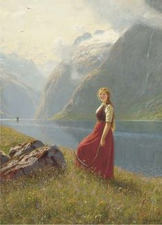 Norwegian Painter Hans Dahl (1849-1937) - Young Harvester at a Sunlit Fjord