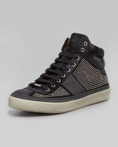 $1295 Jimmy Choo Belgravia Mini-Studded High-Top Sneaker