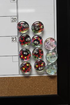 Making magnets for the calendar  Need mod podge, stock paper, hot glue sticks, design, clear gems and magnets.