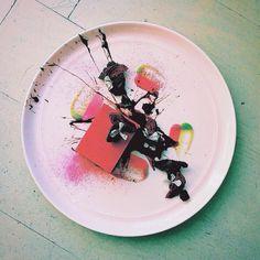 Beet Mascarpone Cheesecake | Sweet Pea Gel Liquid Brandy Chocolate House Made…