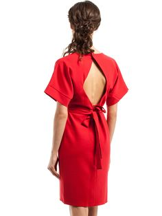 Dámske Šaty S Krátkym Rukávom STYLOVE #dress #red #bare_back #short_sleeve #ribbon #bow #stylish #women_fashion